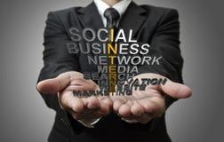 3d word internet concept. Business man hand shows 3d word internet concept royalty free stock photo