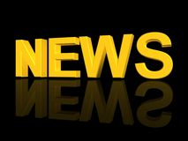 3d word news. Three dimensional illustration of word news reflecting on black background Stock Photo