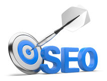 3D word SEO with Target and Dart Stock Photo