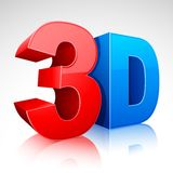 3D Word Symbol. Illustration of 3D word written in red and blue color Stock Photos