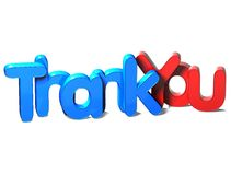 3D Word Thank You on white background Stock Photography