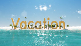 Free 3d Word Vacation On Tropical Paradise Island With Palm Trees An Sun Tents. Royalty Free Stock Image - 63462376