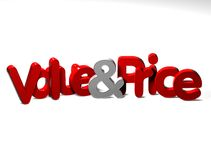 3D Word Value And Price on white background Stock Photos