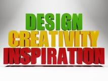 3d words design creativity inspiration over grey. Background stock illustration