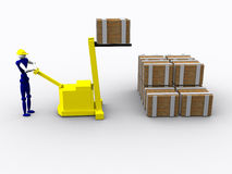 3d Worker. Lifting a crate vector illustration