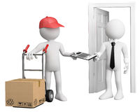 3D worker delivering a package. Rendered at high resolution on a white background with diffuse shadows Stock Photos