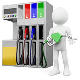 3D worker at a gas station with a petrol pump Stock Photography