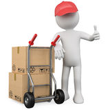 3D worker with a package and thumb up. Rendered at high resolution on a white background with diffuse shadows Stock Image