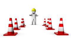 3d worker with traffic cones Stock Photo