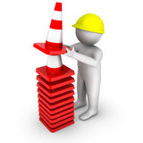 3d worker with traffic cones Stock Image