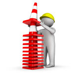 3d worker with traffic cones stock illustration