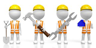 3D Workers Holding Tools - Hammer, Shovel, Wrench, House Shape Royalty Free Stock Images
