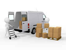 3d workers loading boxes to a van Stock Photo
