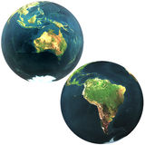 3D world Australia and South America. Isolated on a white Stock Image