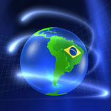 3D World - Brasil. 3D world with Brasil flag Stock Photography