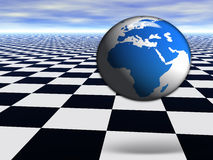 3D world globe jumping on abstract chess floor. 3D world globe jumping on abstract chess black and white Infinite floor with cloudy blue sky Stock Photos