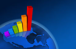3d World Growth Chart - America Royalty Free Stock Image