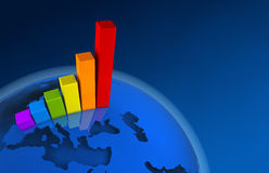 3d World Growth Chart - Europe. Growing color chart on the globe, Europe Royalty Free Stock Photos