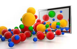 3D World jumping from LED TV Royalty Free Stock Photo