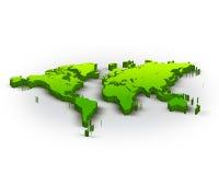 3d world map. Beautiful green 3d world map Royalty Free Stock Image
