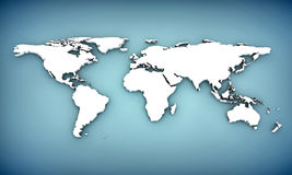 3d world map. With extrude continents Stock Photos