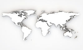 3d world map. With extrude continents Royalty Free Stock Image