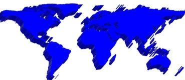 3d world map. Blue 3d world map illutration Stock Photo