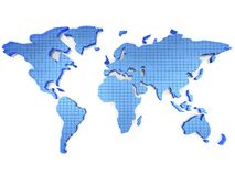3d World map. High resoulation 3d Render in blue color Stock Photography