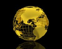 3D World map. Isolated over a black background Royalty Free Stock Photos