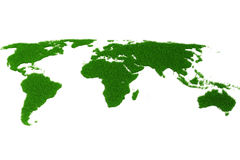 3d world map made of grass Royalty Free Stock Images