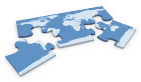 3d world map puzzle Stock Photos