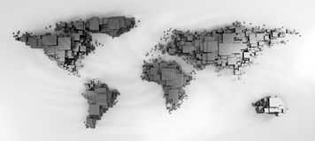 3d world map rendering. Out of blocks vector illustration