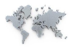 3d world map rendering Stock Image