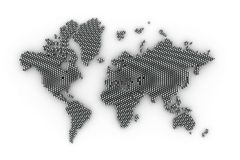 3d world map rendering Stock Photo