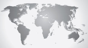 3D World Map Silhouette Stock Photo
