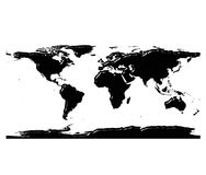 3d world map silhouette with reflection. Isolated in white Royalty Free Stock Photos