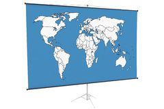 3d world map on a stand. Isolated on white Stock Photo