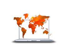 3D world map textured on laptop Stock Photos