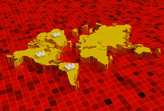 3d world map with www. World wide web on 3d world map Stock Images