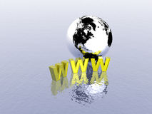 3d World Wide Web. Internet symbol and globe Stock Images