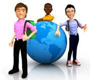 3D worldwide travelers Royalty Free Stock Image