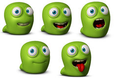 3d worm. 3d cartoon cute green worm Stock Photos