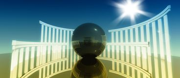 3d worship, religious cult architecture with ball. 3d concept and metaphor of worship, religious cult architecture with glossy ball Royalty Free Stock Image