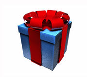 3D Wrapped Gift. 3D of a blue box wrapped in a red ribbon, isolated on a white background Royalty Free Stock Image