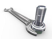 3d wrench and bolt. 3d render of wrench and bolt Royalty Free Stock Photos