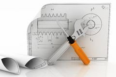 3d wrench and screwdriver with drafts Stock Photo