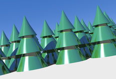 3d xmas trees Royalty Free Stock Photos