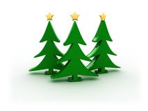 3d xmas trees. 3d illustration of three xmas trees on white Royalty Free Stock Image