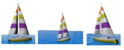 3D yachts a coleção ilustração royalty free