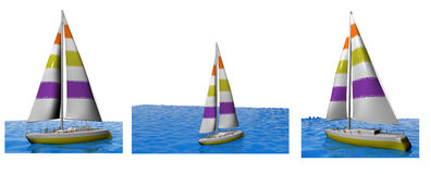 3D yachts collection Stock Photo